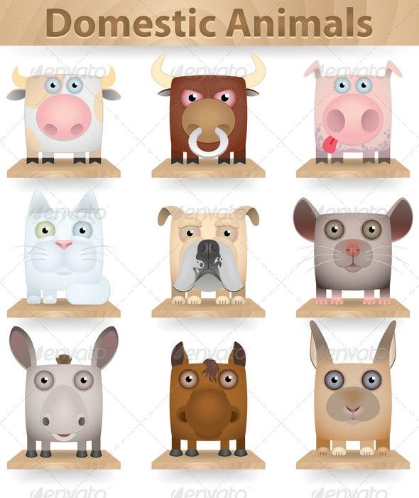 Domestic Animals Icon Set - Animals Characters