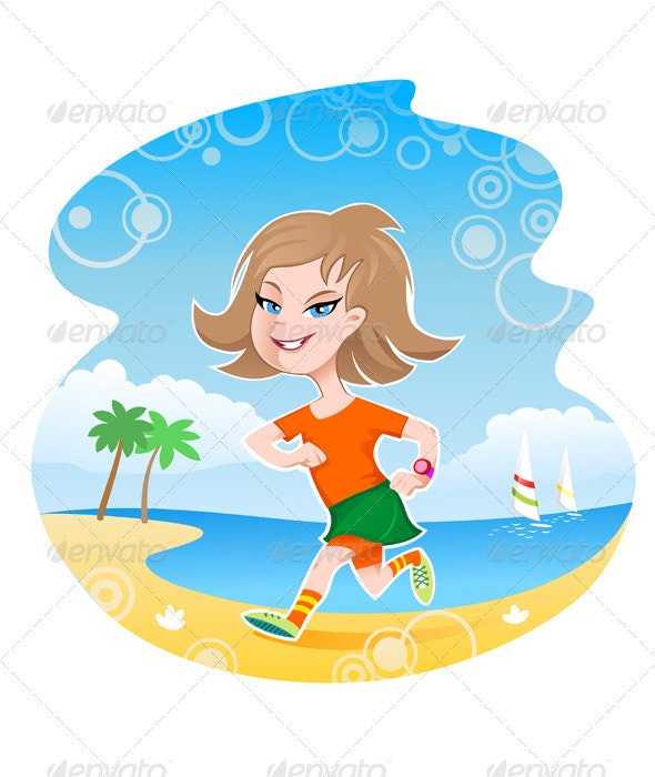 Girl running along the beach line  - People Characters