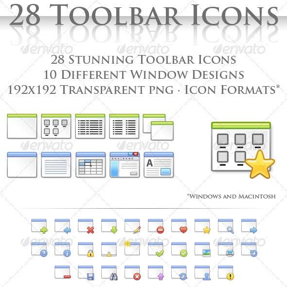 28 Toolbar Window Icons