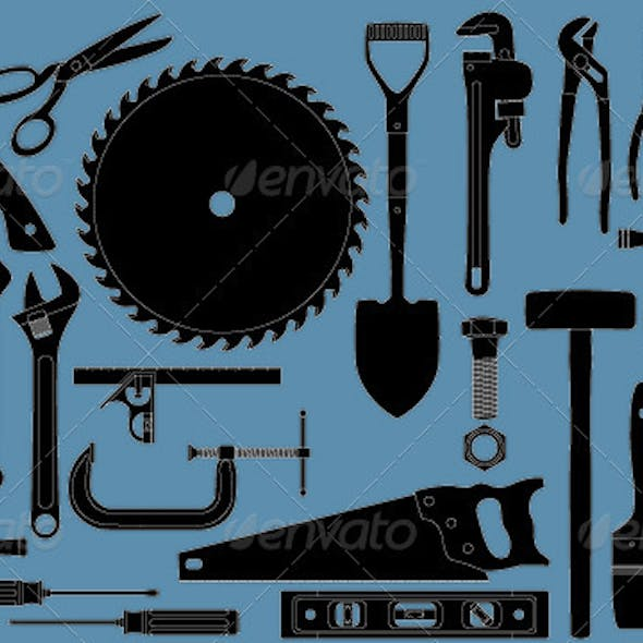 Group of many common tools for construction