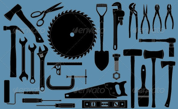 Group of many common tools for construction - Man-made Objects Objects