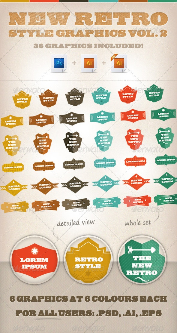 New-Retro Style Graphics vol. 2 - Decorative Vectors