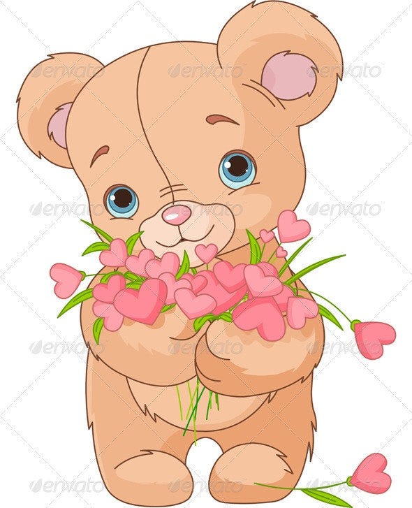Teddy Bear Giving Hearts Bouquet - Valentines Seasons/Holidays