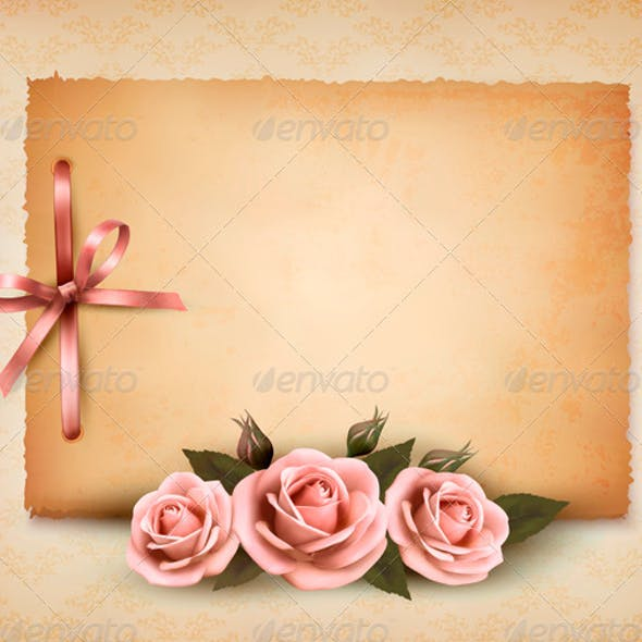 Retro Background with Pink Roses