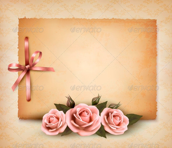 Retro Background with Pink Roses - Retro Technology