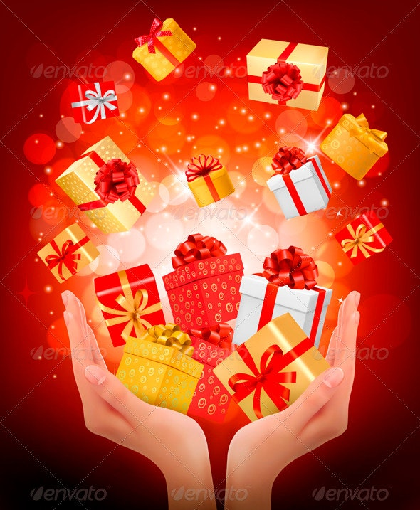 Holiday Background with Hands Holding Gift Boxes - Seasons/Holidays Conceptual