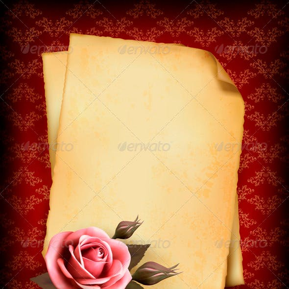 Retro Background with Pink Rose and Old Paper