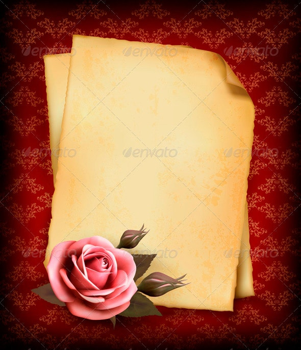 Retro Background with Pink Rose and Old Paper - Valentines Seasons/Holidays