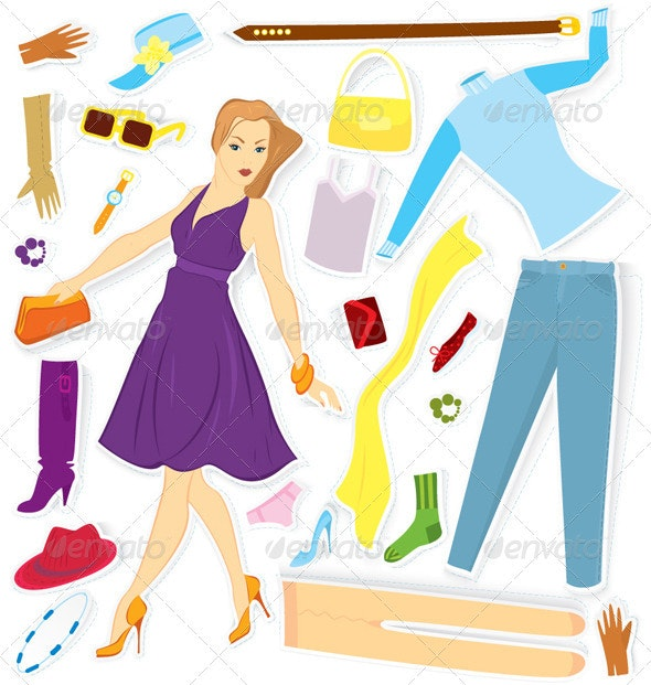 Clothes and Girl Sticker Vector - Objects Vectors