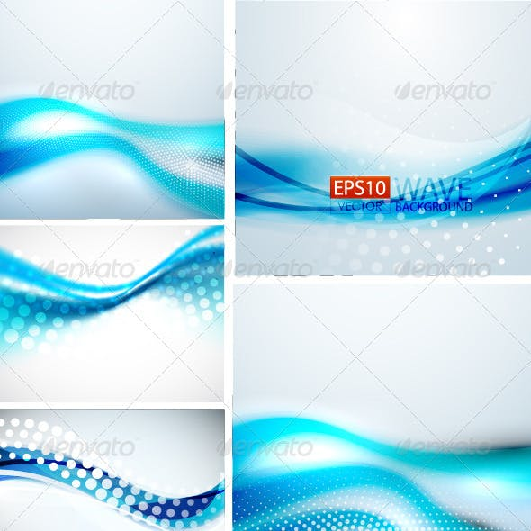Creative Blue Wave Background Set