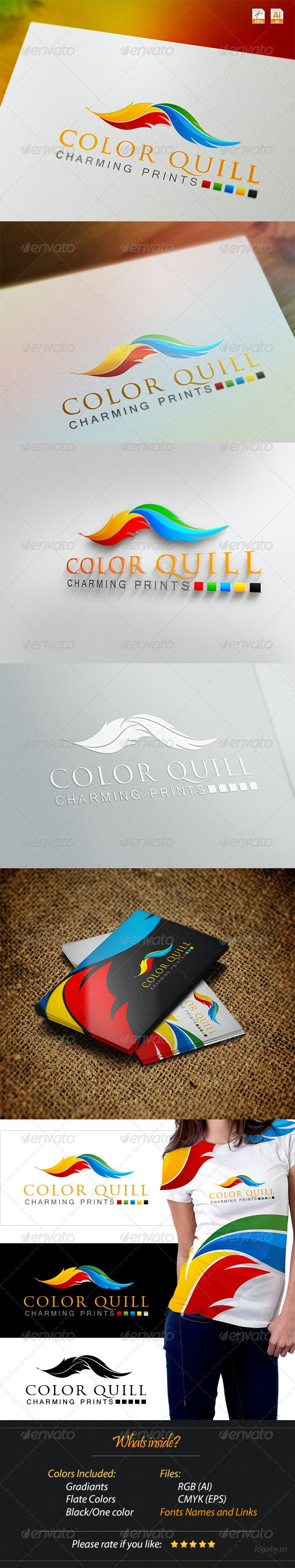 Color Quill - Charming Prints Logo - Objects Logo Templates