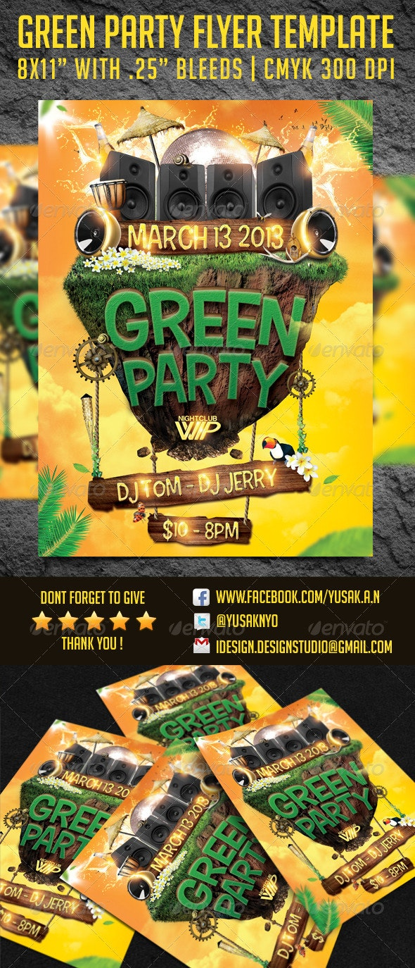 Green Party Flyer Template - Clubs & Parties Events
