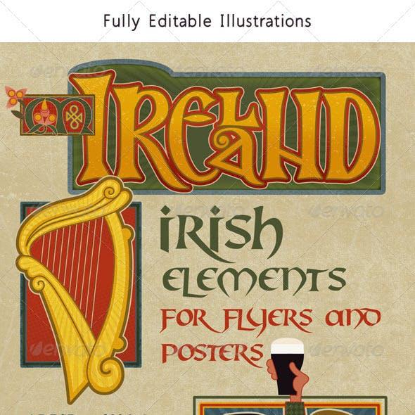 Ireland: Set of Modern Traditional Irish Graphics