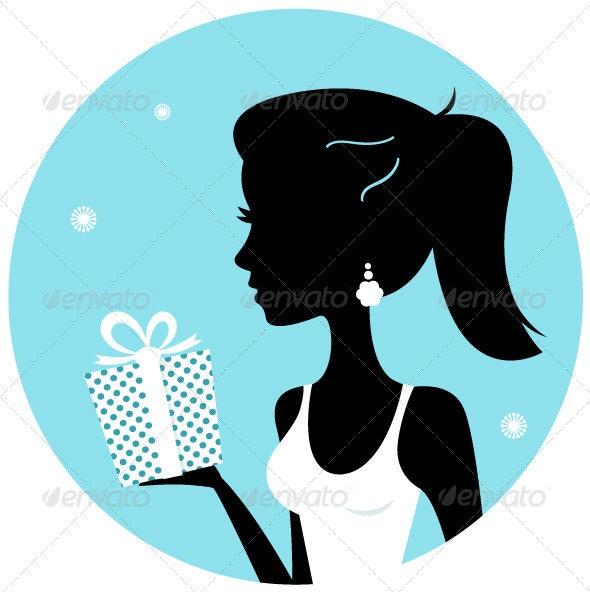 Beautiful Woman Silhouette with Gift - Christmas Seasons/Holidays