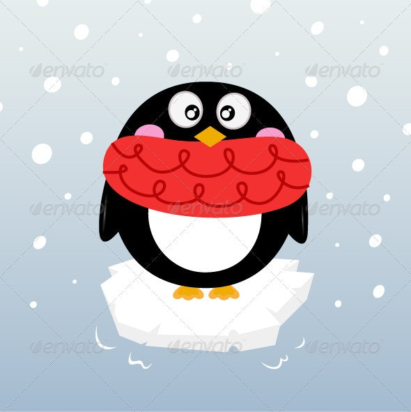 Cute Winter Penguin on Iceberg - Christmas Seasons/Holidays