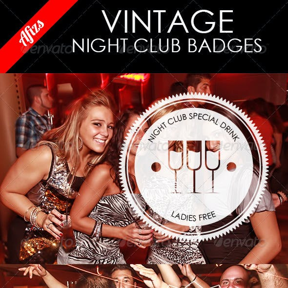 Night Club Vintage Badges