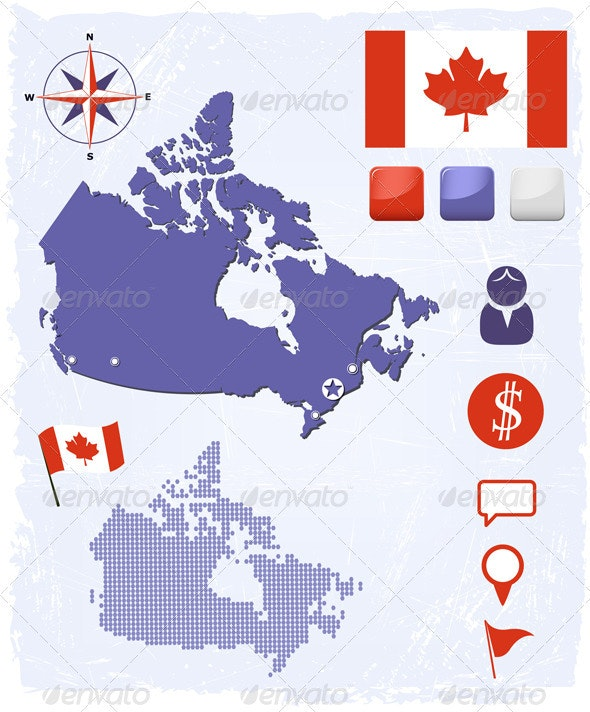 Canada Map Icons And Buttons Set - Travel Conceptual