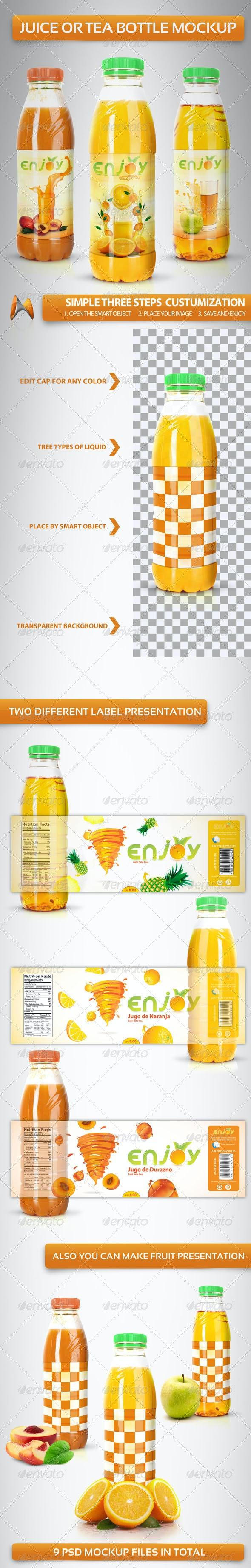 Juice or Tea Bottle Mockup - Food and Drink Packaging