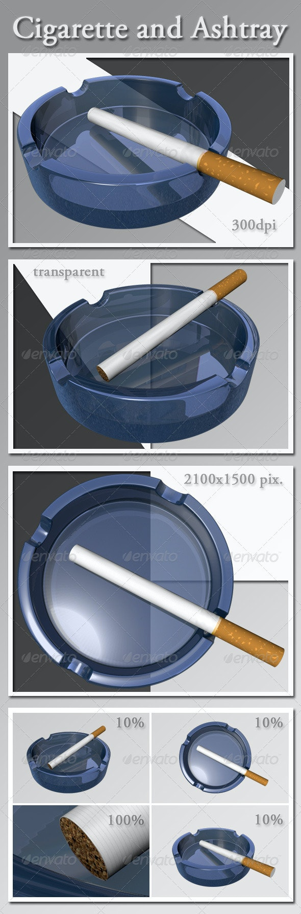 Cigarette and Ashtray - Objects 3D Renders