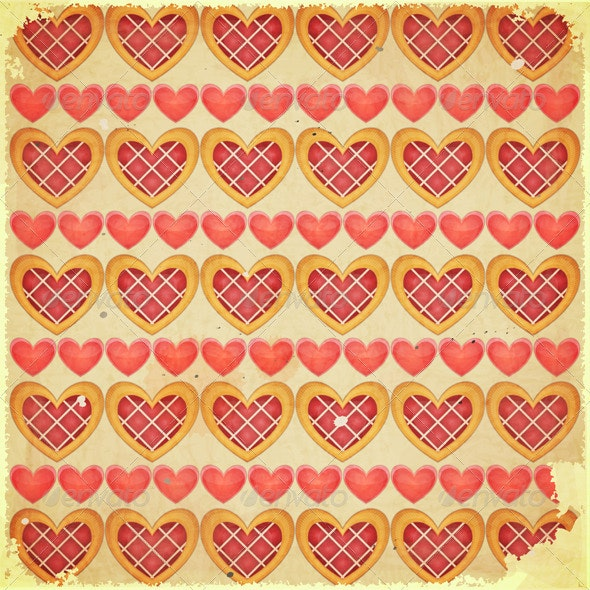 Retro Valentines Day Background with Hearts - Backgrounds Decorative