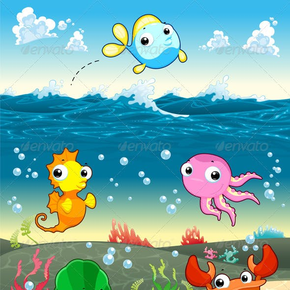 Funny Marine Family in the Sea.
