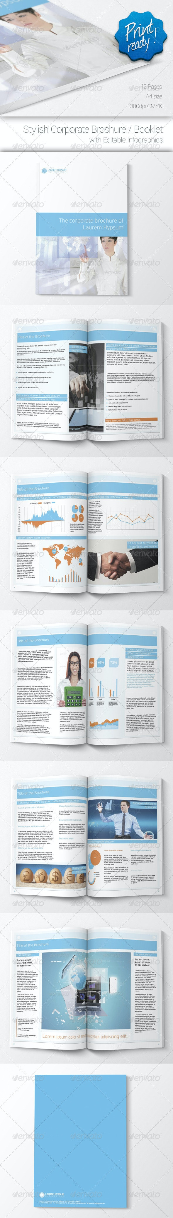Corporate Brochure with Editable Infographics - Corporate Business Cards