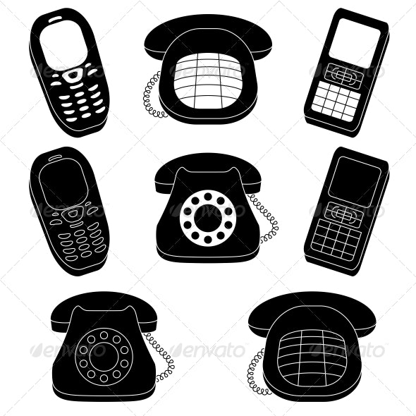 Set of Phones, Silhouette - Communications Technology