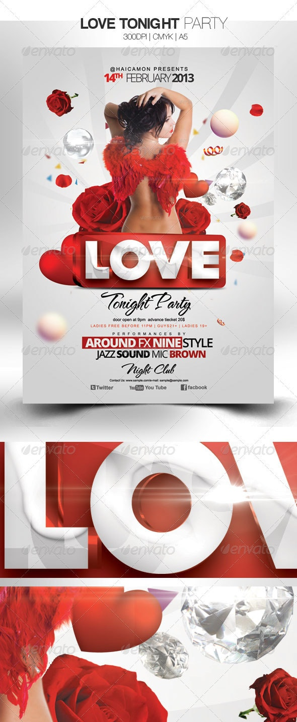 love Tonight Party - Events Flyers