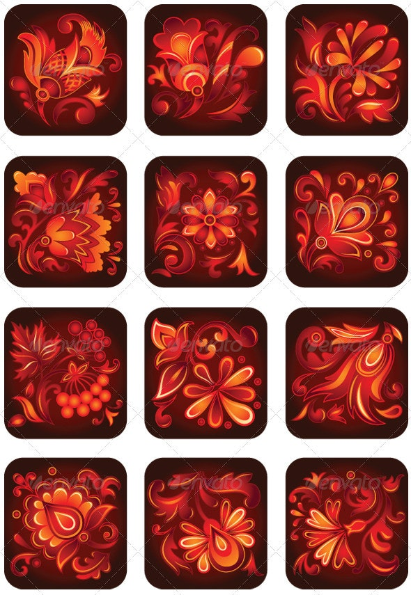 Set of Decorative Flower Ornaments - Flourishes / Swirls Decorative