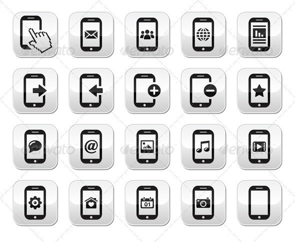 Smartphone / Mobile or Cell Phone Buttons Set - Communications Technology