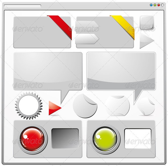 Collection of Colored Web Elements - Decorative Vectors