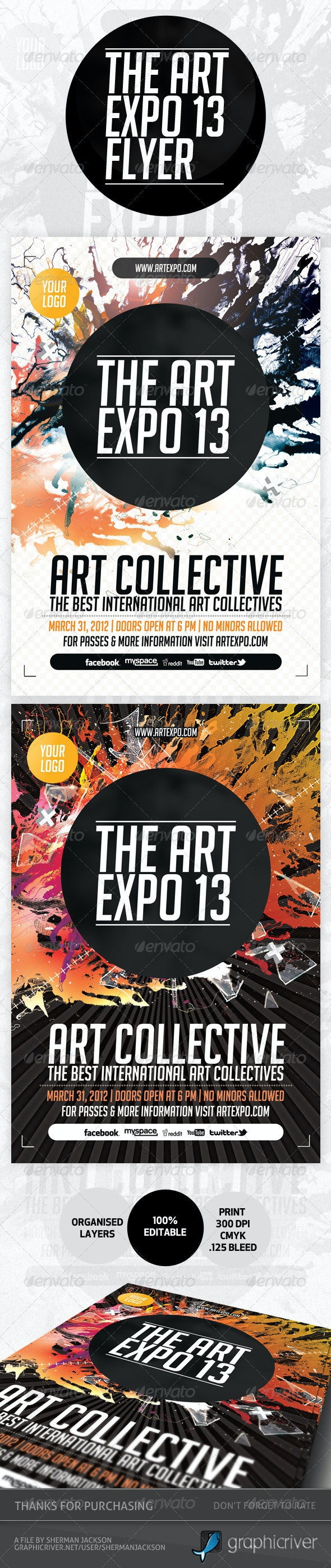 Art Expo & Art Show Event Flyer Template PSD - Miscellaneous Events