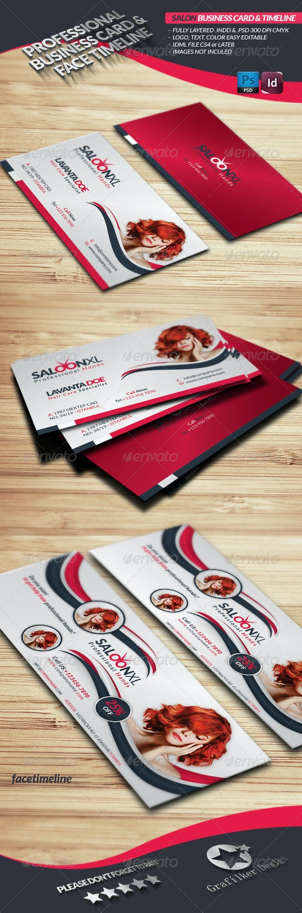 Saloon Business Card Face Timeline - Industry Specific Business Cards