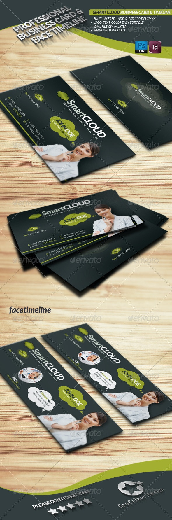 Smart Cloud Business Card Face Timeline - Corporate Business Cards