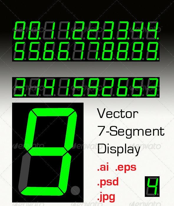 Vectorized Seven Segment Display - Web Elements Vectors