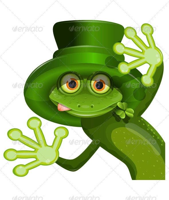 Green frog wearing a hat of Saint Patrick - Seasons/Holidays Conceptual