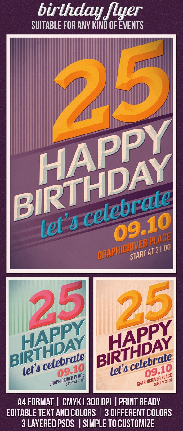 Birthday/Event Party Flyer Template - Events Flyers