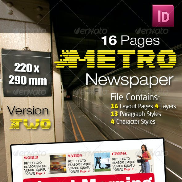 16 Pages Metro Newspaper Version Two