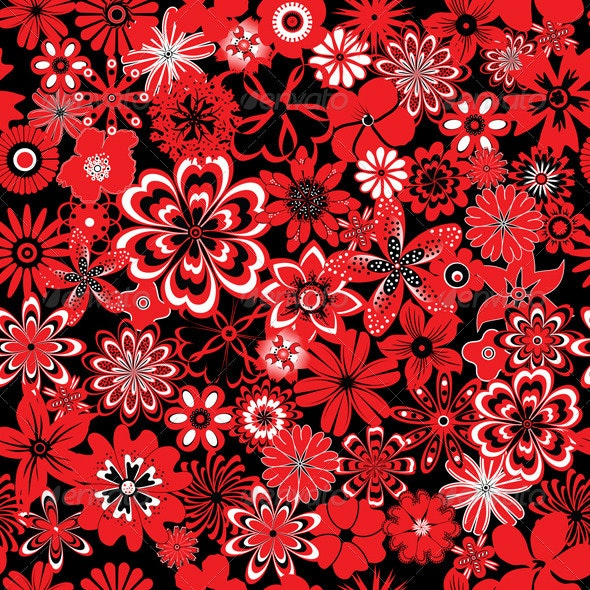 Seamless Pattern with Red and Black Flowers - Patterns Decorative