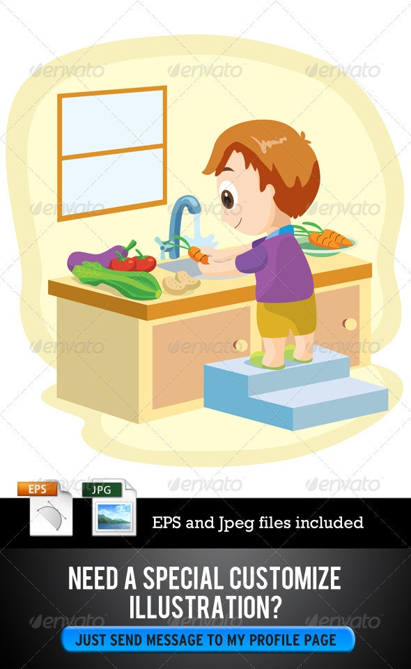 Boy Washing Vegetables - Characters Vectors