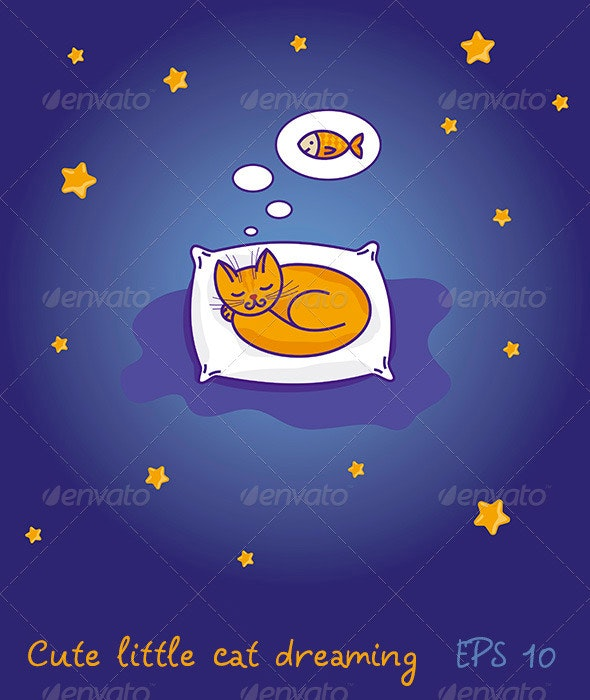 Little cat sleeping and dreaming of fish - Characters Vectors