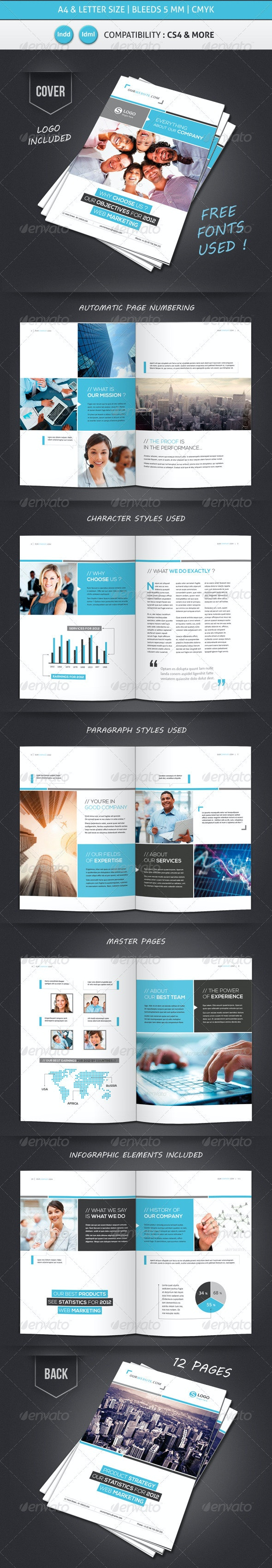 Business Brochure Template A4 & Letter 12 Pages - Corporate Brochures
