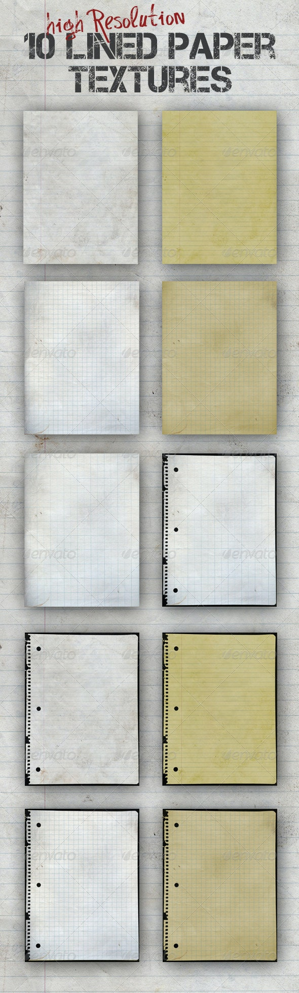 10 Lined Paper Textures - Paper Textures