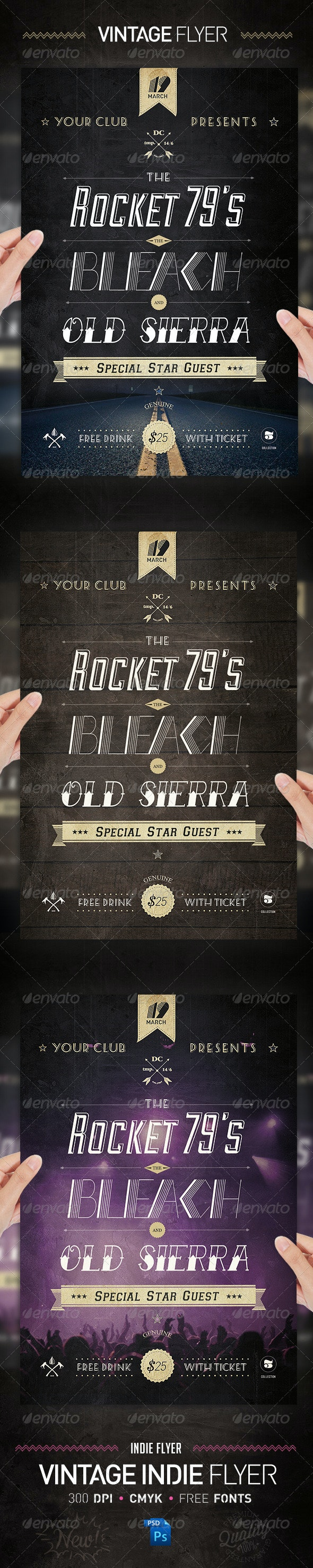 Vintage Indie Typography Poster Flyer Template - Clubs & Parties Events