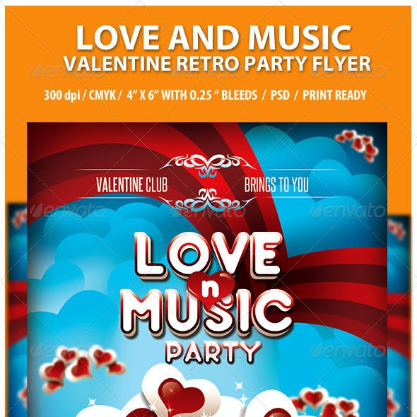 Love and Music Valentine Retro Party Flyer