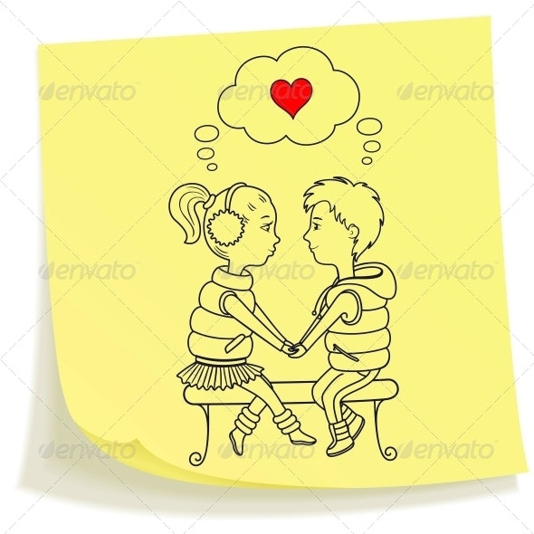Sticky note with drawn teens couple in love - Valentines Seasons/Holidays