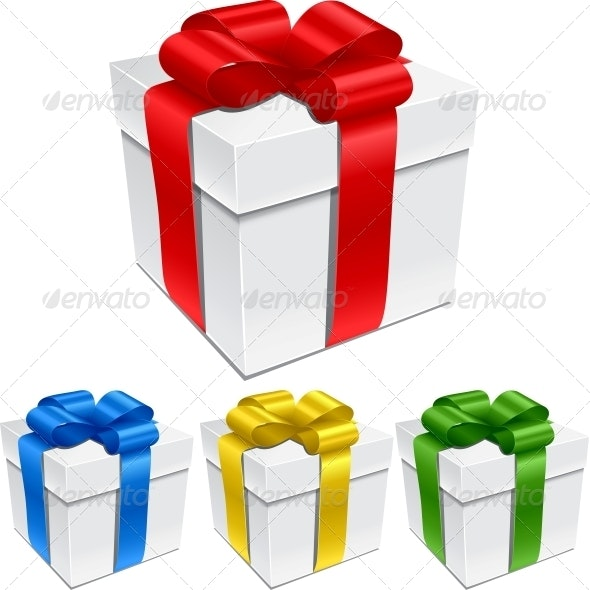 Set of Gift Boxes with Bows and Ribbons - Birthdays Seasons/Holidays