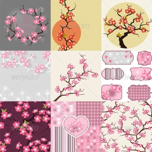 Cherry Blossom Seamless Patterns, Backgrounds.