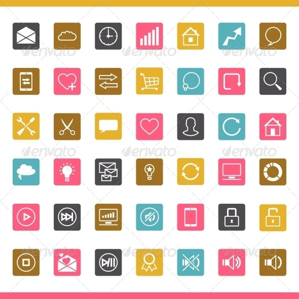 Set of 42 SEO Internet Icons. - Web Technology