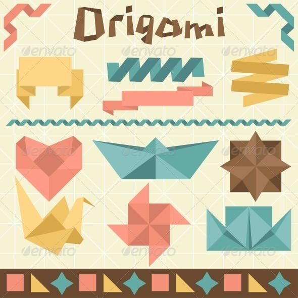 Retro Origami Set with Design Elements.
